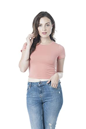 Khanomak Short Sleeve Scoop Neck Basic Crop Top  Amazon.co.uk  Clothing fec940d5b