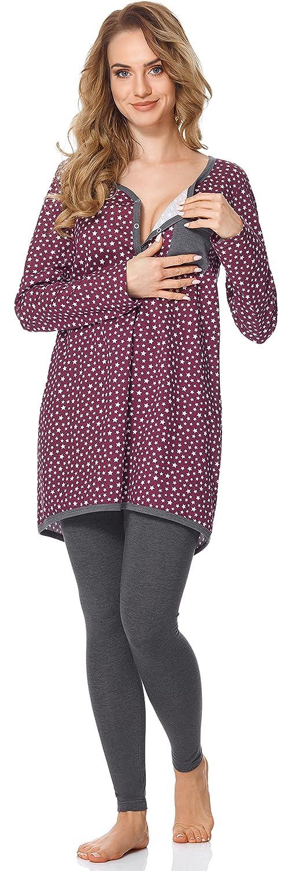 Bellivalini Premam/á Pijama Conjunto Camiseta y Leggins Lactancia Maternidad Mujer BLV50-125