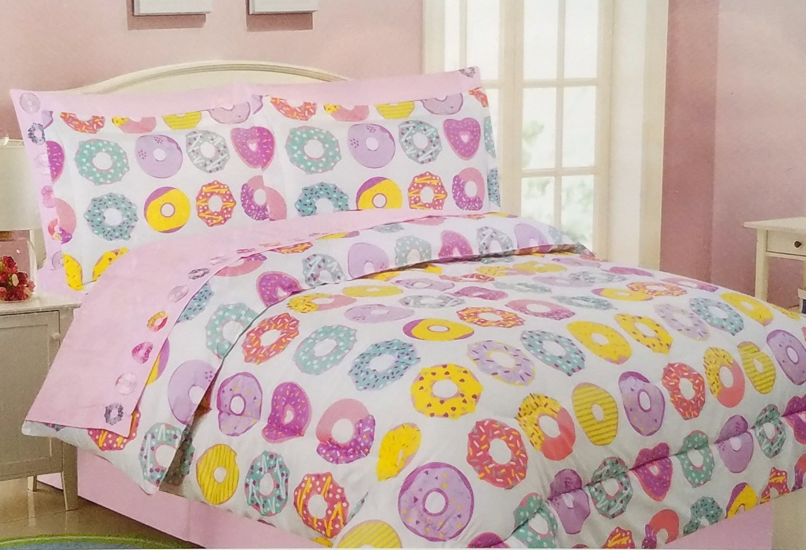 The Lilly Love Collection Twin Bed in a Bag with Embroidered Sheet Set Donuts Girls Comforter 5 piece