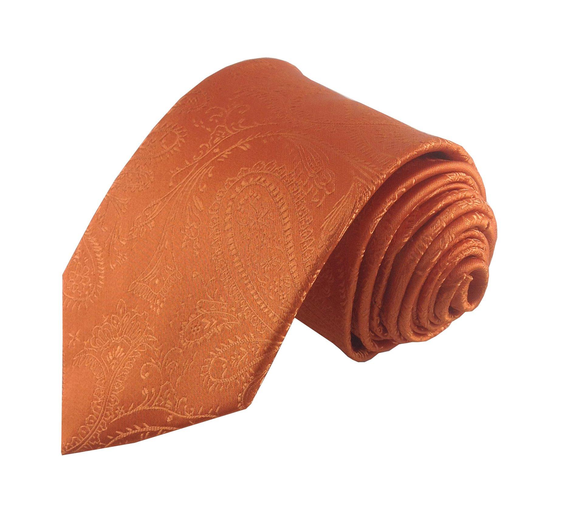 Bulk Wedding Solid Colored Paisley Patterned Necktie Package for Groomsmen (8-Pack, Orange)