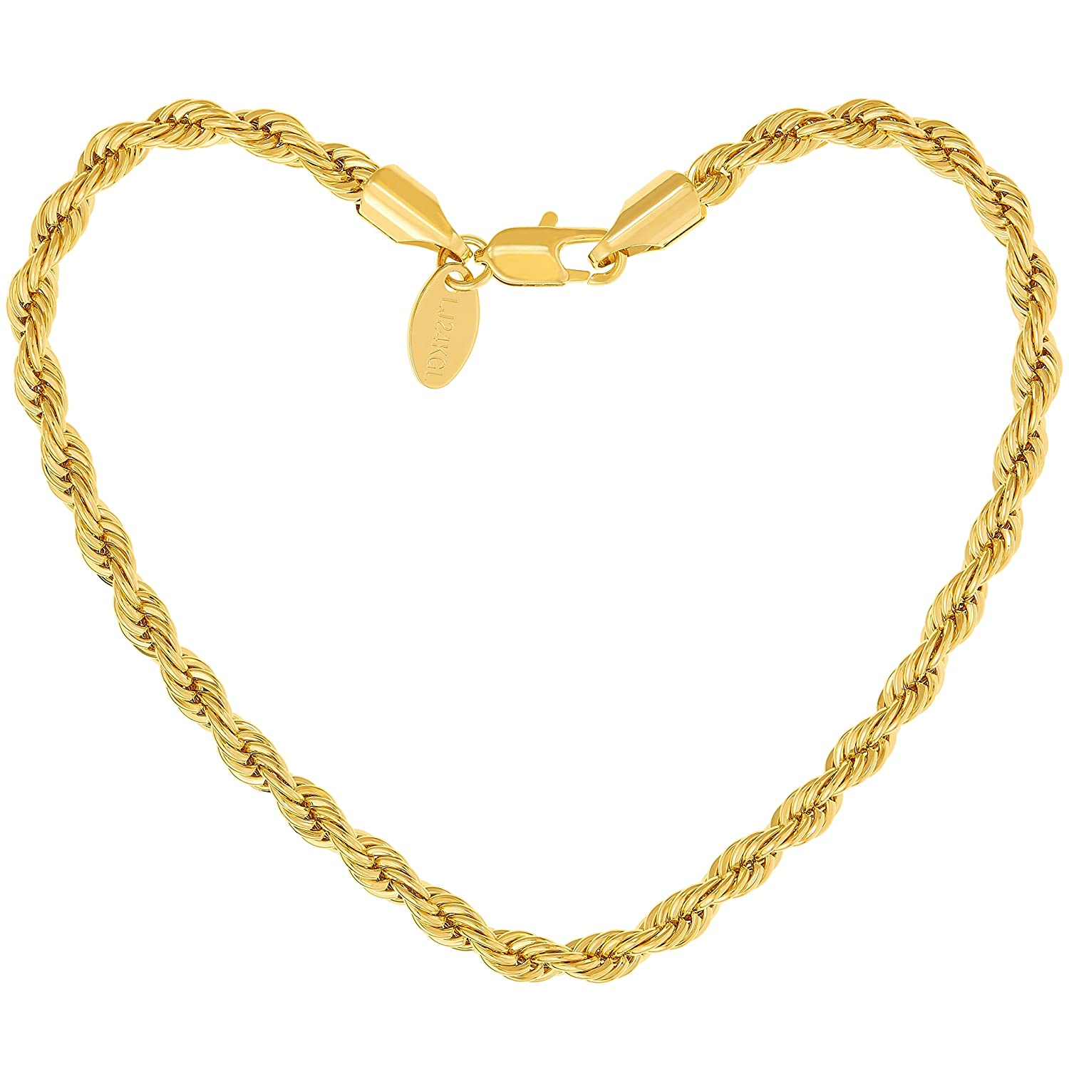 Lifetime Jewelry 5mm Rope Chain Gold Bracelet for Men and Women - Up to 20X More 24k Plating Than Other Plated Bracelets - Great Gift to Mom and Dad or Your Best Friends 7 8 and 9 inches Round 24K Gold with Inlaid Bronze Premium Fashion Jewelry Guaranteed