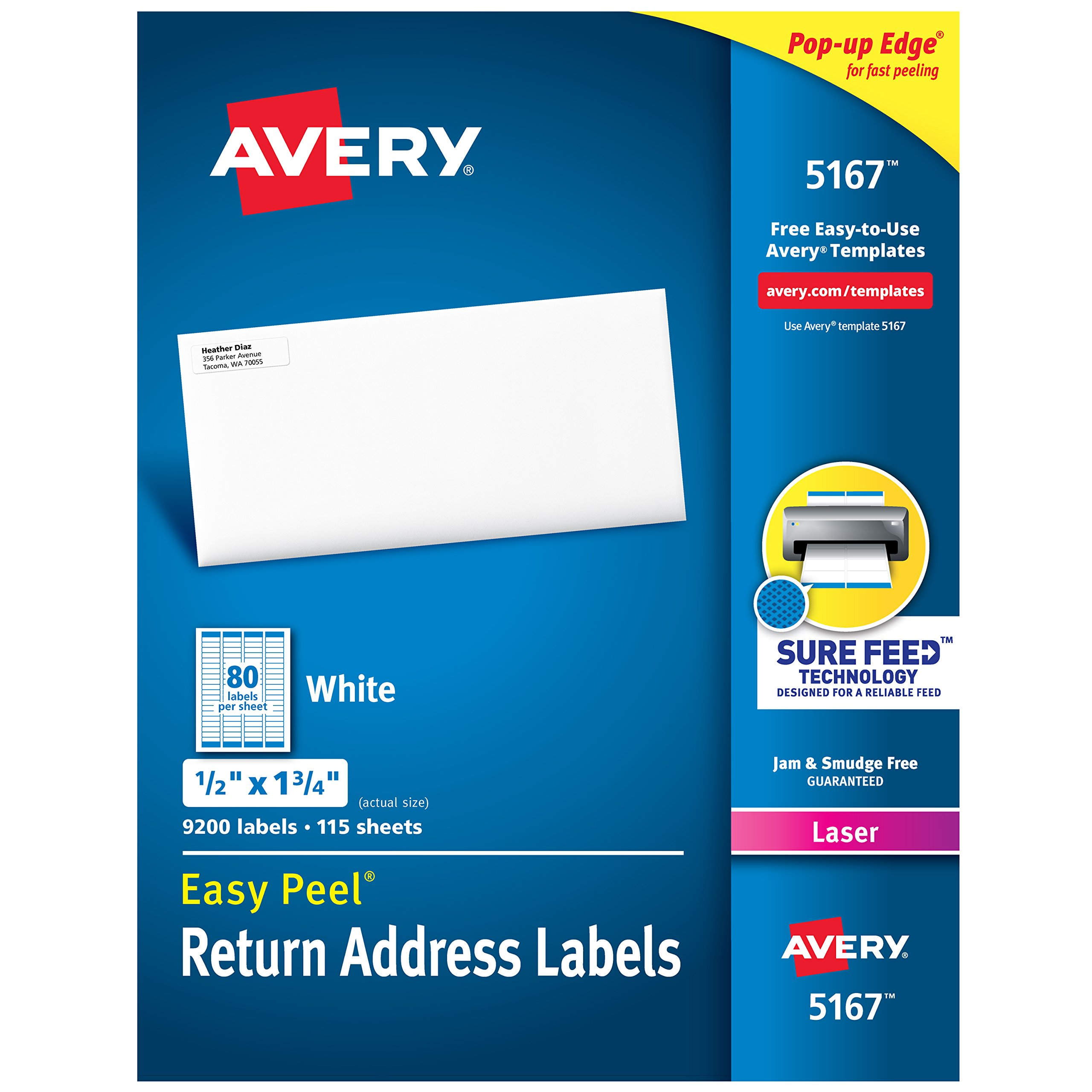 Avery Address Labels with Sure Feed for Laser Printers 0.5'' x 1.75'', 9,200 Labels, Permanent Adhesive (5167)