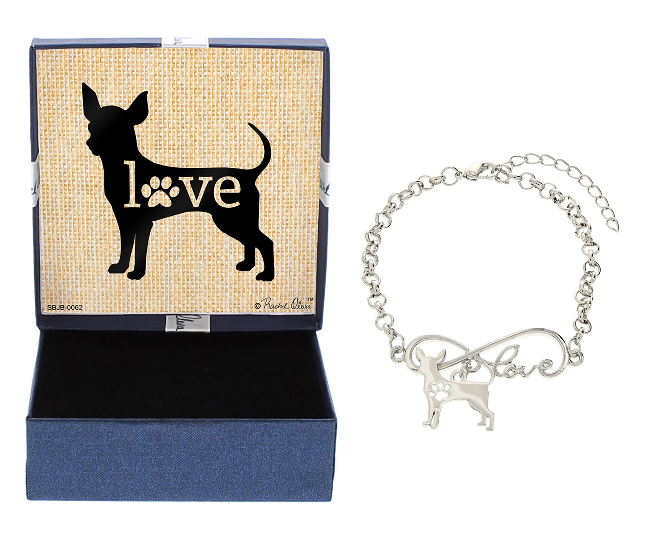 Mother's Day Gifts Love Chihuahua Bracelet Gift Love Charm Dog Breed Silhouette Charm Bracelet Silver-Tone Bracelet Gift for Chihuahua Owner Jewelry Box Mothers Day Gift Idea For A Rescue Dog Mom