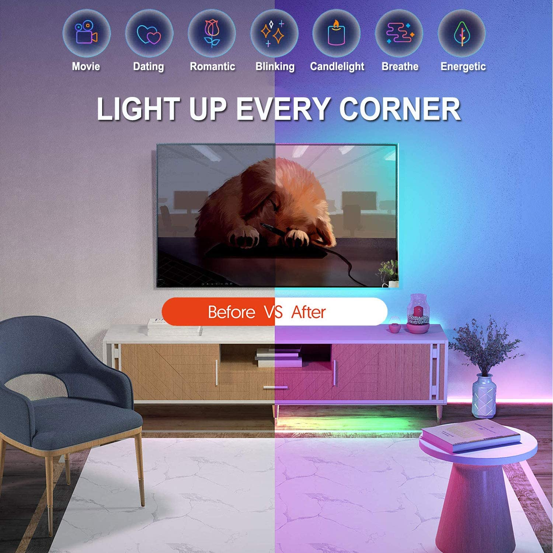 Guirlandes lumineuse LED Decoration Salon Chambre Cuisine Soir/ée Bar HAYAYO LED Ruban Bande LED 20m 5050 Avec T/él/écommande Bluetooth APP Contr/ôle Ruban LED RGB 5050 lumiere LED Music Sync