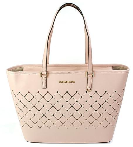 ddfabc4d5a Michael Kors Violet Jet Set Shopper Tote Bag Saffiano Leather (Ballet)
