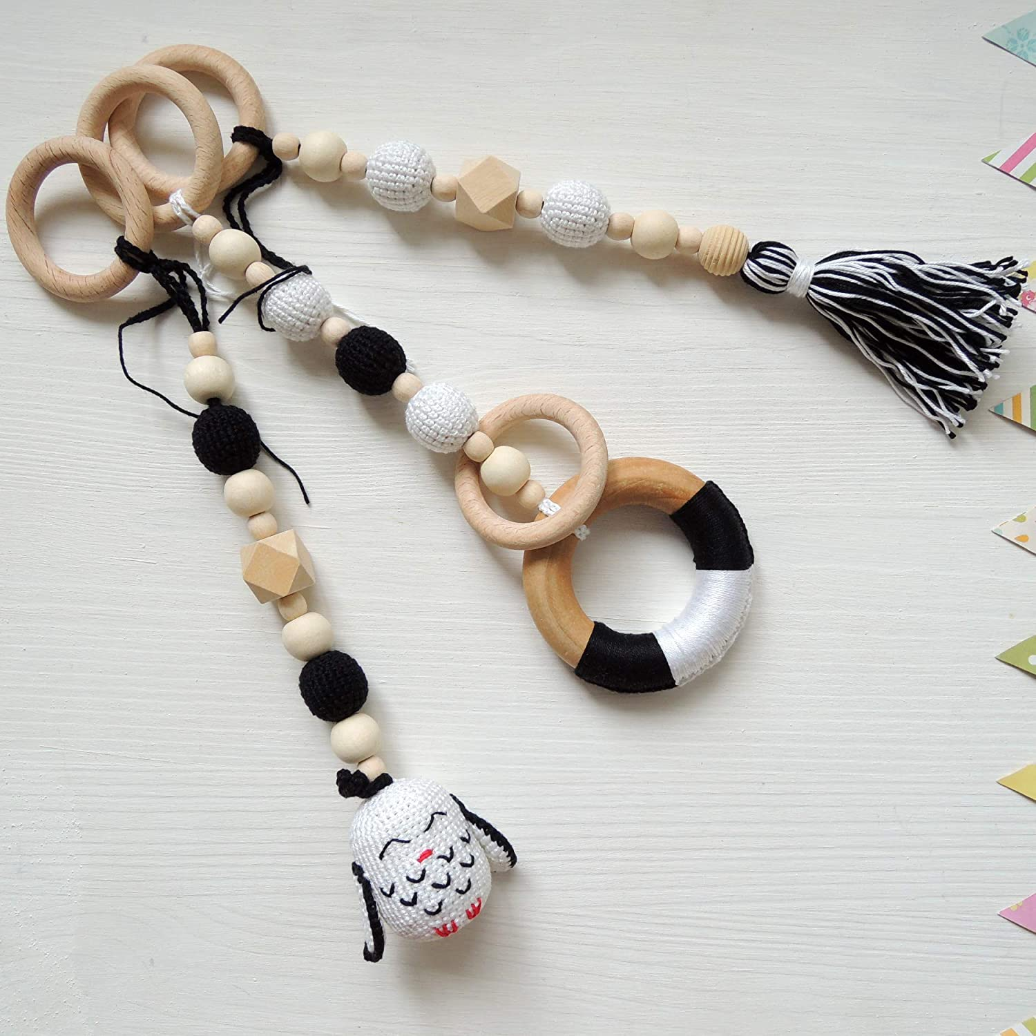 Set of 3 Hanging Toys for Wooden Baby Gym, Black and White Stroller Toy, Pram Chain, Car Seat Accessories, Monochrome Baby Mobile, Rattle Animal Bird, Teething Ring, Shower Gift for Girl, Boy or Twins