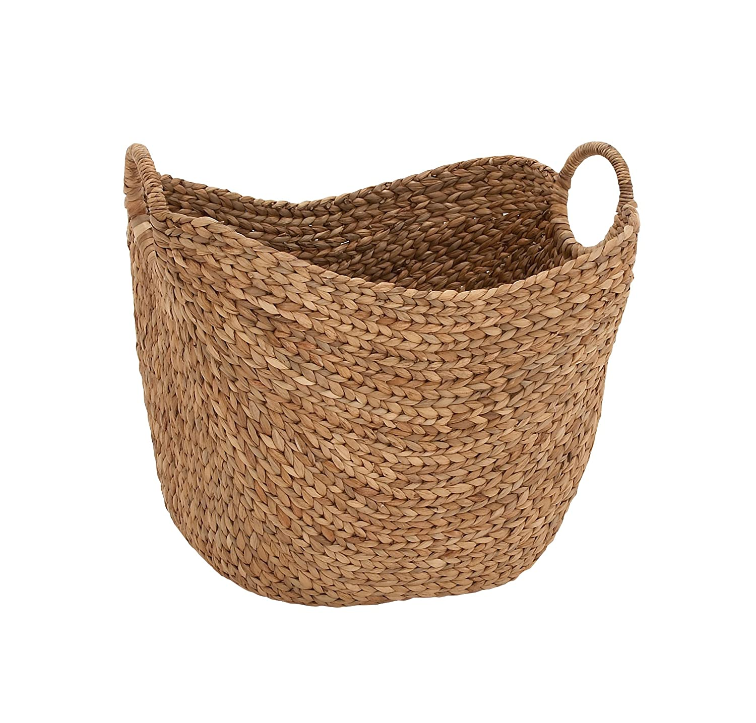 "Deco 79 Large Seagrass Woven Wicker Basket with Arched Handles, Rustic Natural Brown Finish, as Coastal Decorative Accent or Storage, 21"" W x 17"" L x 17"" H,"
