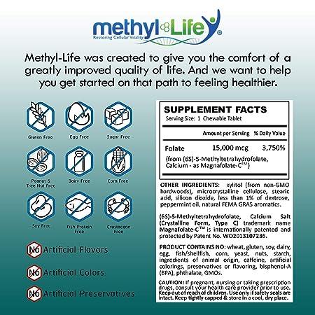Methylfolate 15 by Methyl-Life|L-5-MTHF, (or (6S)-5-Methylfolate) calcium  salt (15 mg per