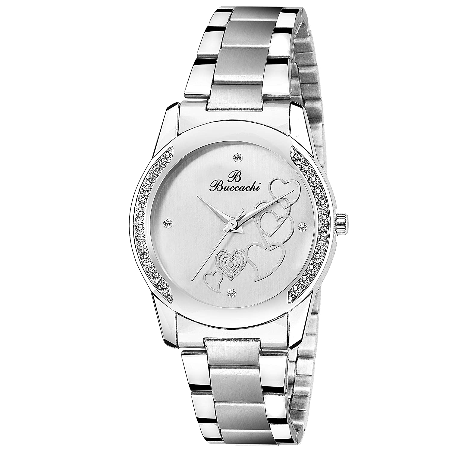 Buccachi Analogue White Round Dial Watch for Women's (B-L1032-WT-CH)