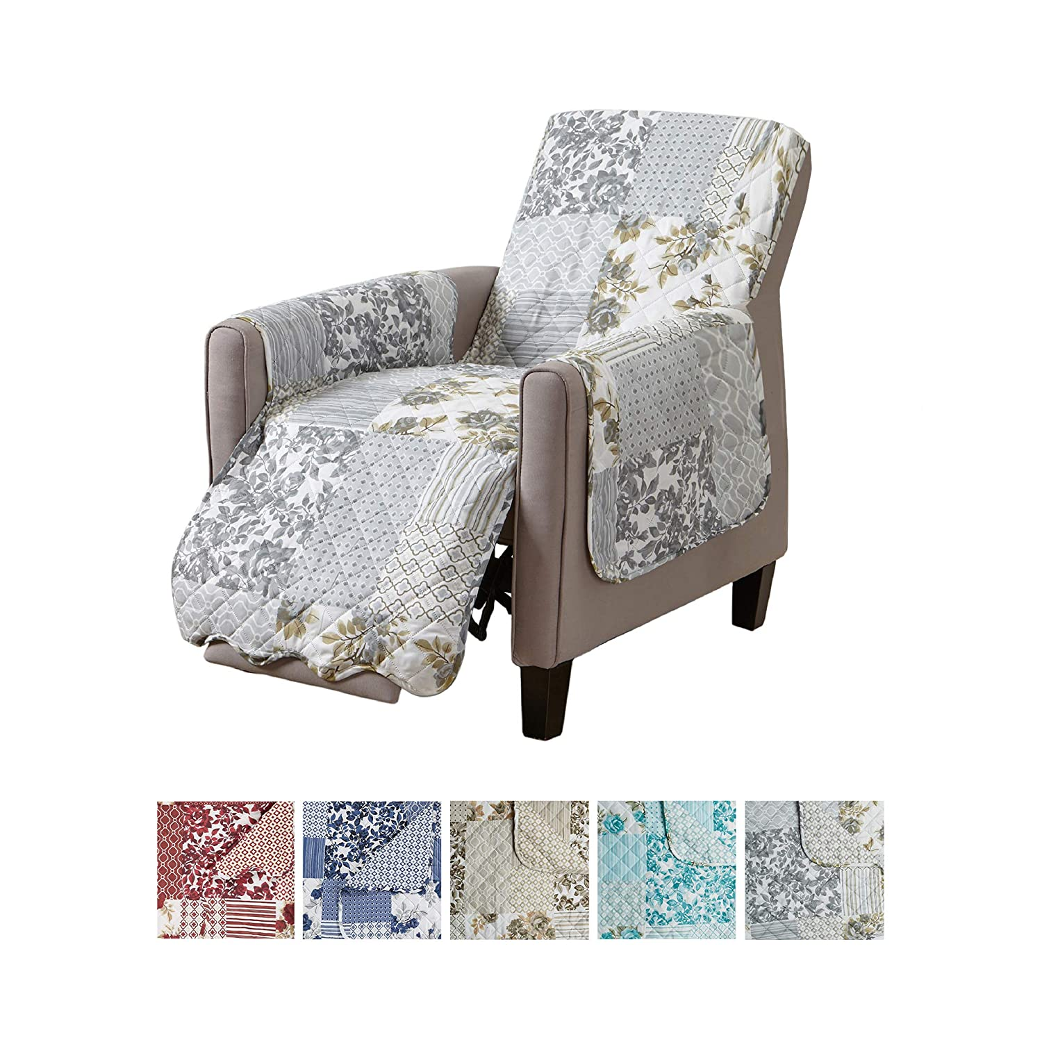 "Patchwork Scalloped Printed Furniture Protector. Stain Resistant Recliner Cover. (24"" Recliner, Grey)"