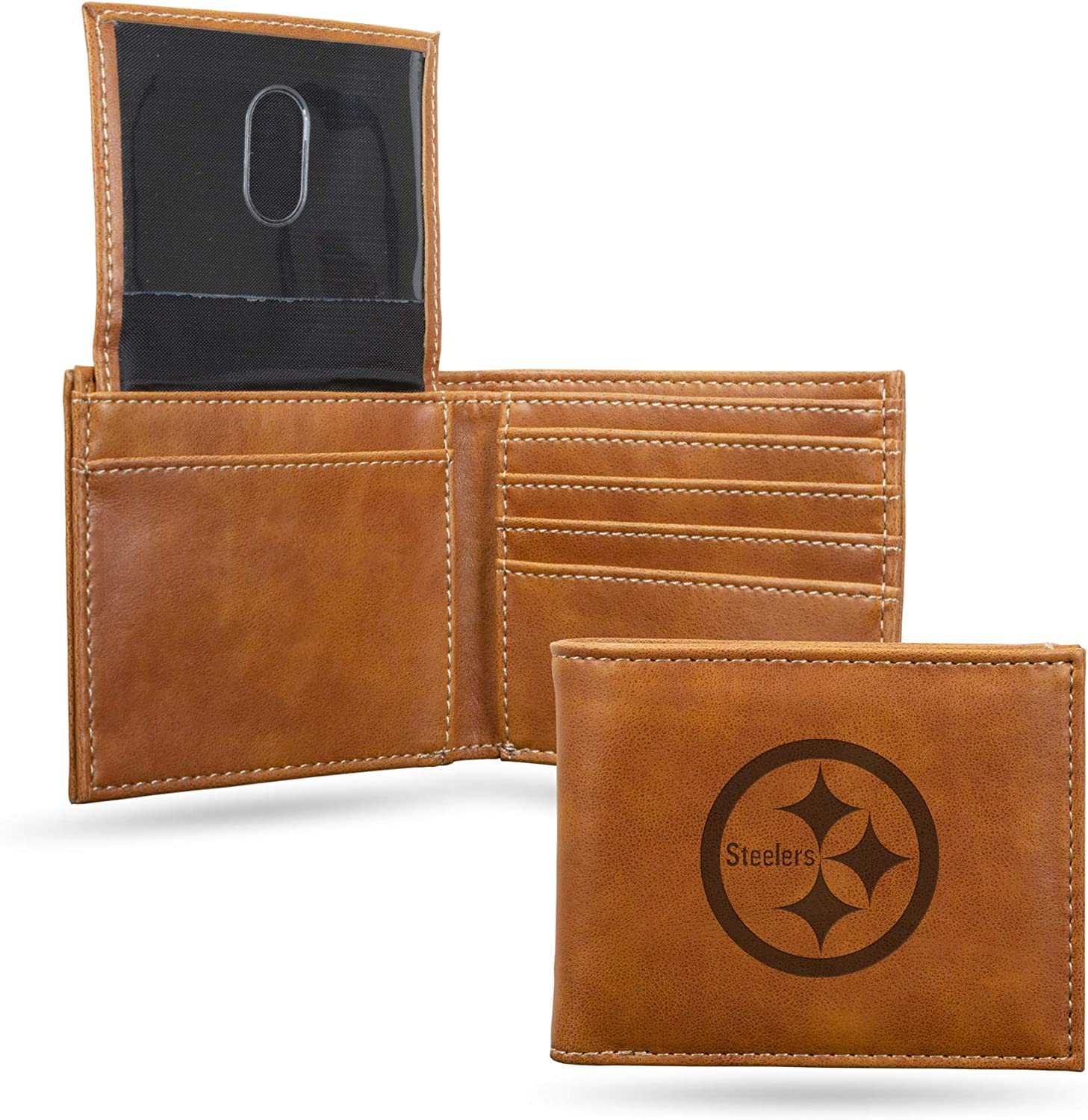 Pittsburgh Steelers NFL Rico Industries  Laser Engraved Trifold Wallet