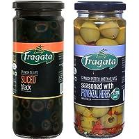 Fragata Sliced Black Olives 430g and Provenzal Olives 330g (Combo Pack)-Olives for Pizzas and Salads