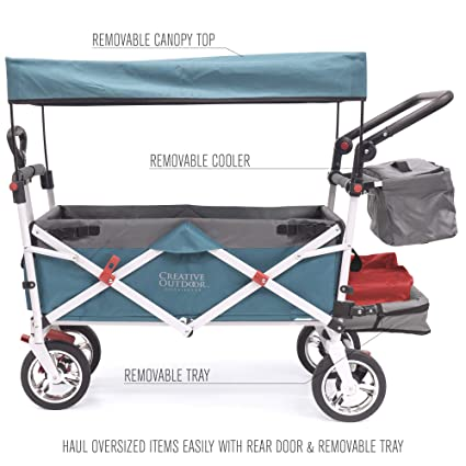 974b7036feaa Creative Outdoor Push Pull Collapsible Folding Wagon Stroller Cart for Kids    Silver Series   Beach Park Garden & Tailgate   Teal