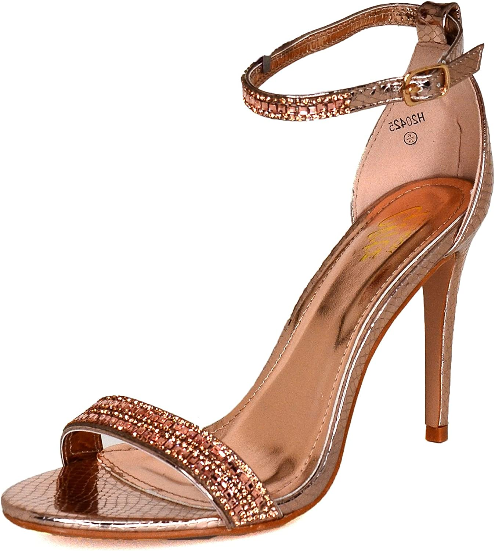 Ladies Diamante Straps High Heel Shoes