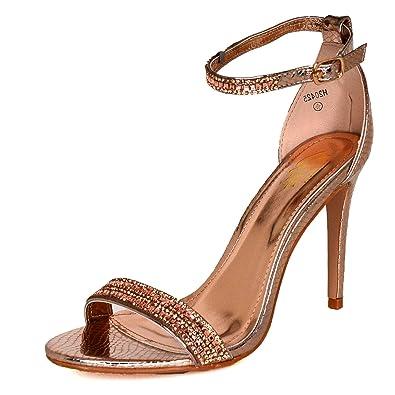 6ee2494ed56c Ladies Diamante Straps High Heel Shoes Ankle Strap Open Toe Sandals Party  Shoes  Amazon.co.uk  Shoes   Bags