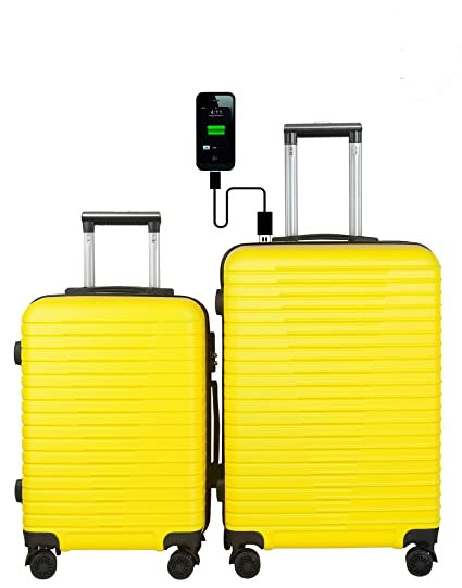 3G Unisex ABS Atlantis Smart Series 4 Wheel Hard Sided Luggage Trolley Travel Bags (Yellow, 20 and 24-inch) -Set of 2