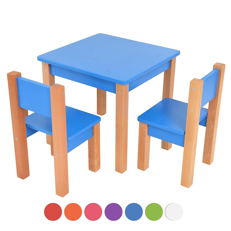 Set: Sitzgruppe f/ür Kinder Tisch blau//natur Kindertisch mit 2 st/ühle 3 tlg 2 St/ühle//Kinderm/öbel f/ür Jungen /& M/ädchen Kindersitzgruppe