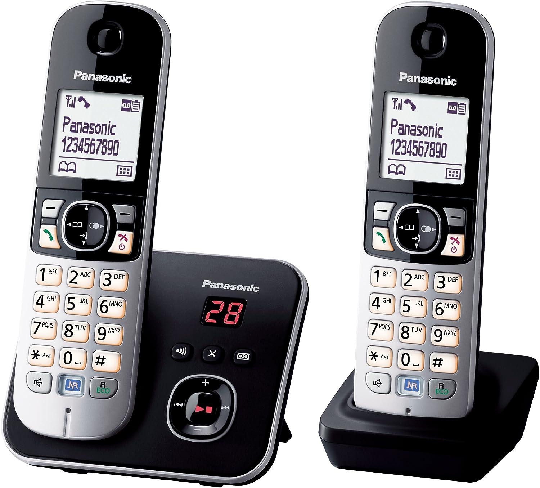 Panasonic KX-TG6822 - Teléfono inalámbrico DECT, con 2 microteléfonos, color negro [Importado de Francia] [versión importada]: Amazon.es: Electrónica