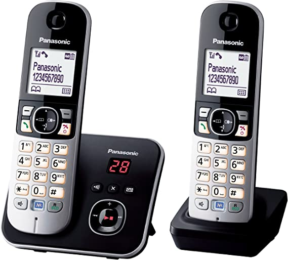 Panasonic KX-TG6822 - Teléfono fijo digital (inalámbrico, identificador de llamadas, pantalla LCD), negro y plateado [Importado de Alemania] [versión importada]: Amazon.es: Electrónica