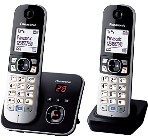 Panasonic KX-TG6821FRB - Teléfono inalámbrico digital (manos libres, pantalla LCD), color negro y plateado: Amazon.es: Electrónica
