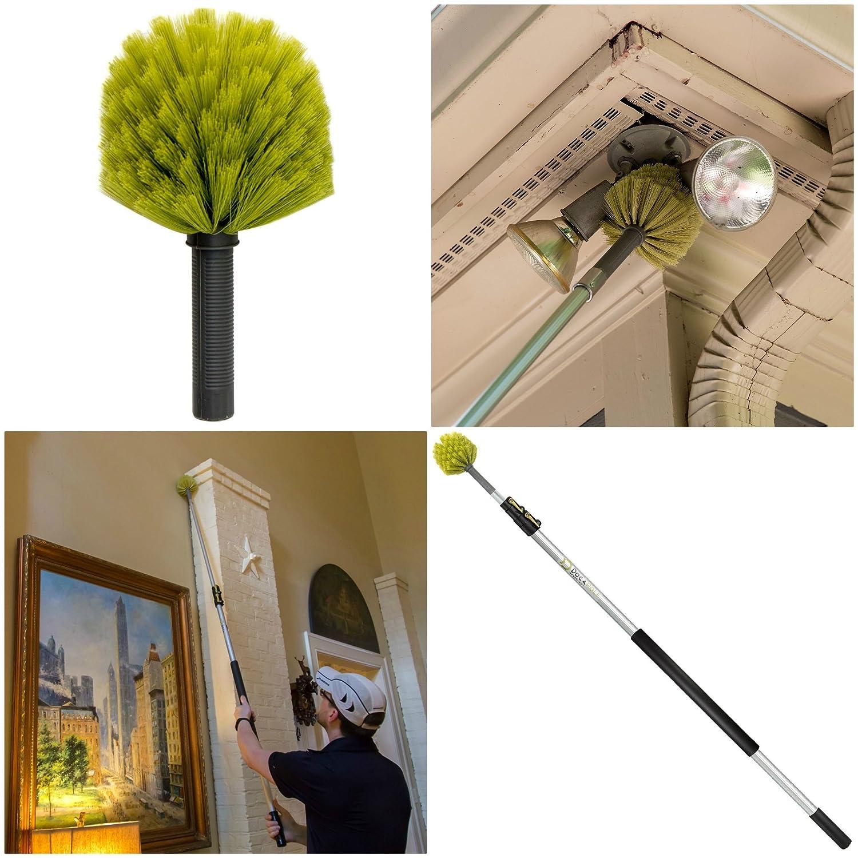 Kit de nettoyage DocaPole avec P/ôle dextension de 3,5m //// 3 accessoires de d/époussi/érage 1 balai-/éponge //// T/ête de Loup //// Plumeau en microfibre //// Plumeau et nettoyant pour ventilateur de plafond