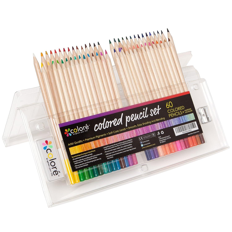 Crayons de couleur - Ensemble de crayons de couleur primes et pré-taillés pour le coloriage et le dessin- Gomme et taille-crayon GRATUIT - 60 Couleurs