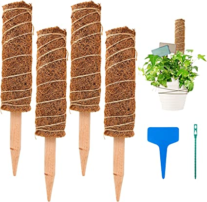 Climbing to Grow Upwards S-Mechanic 15.7 Inch Coir Totem Pole 15.75 4 Pcs Plant Support Totem Pole Stackable Moss Stick for Climbing Indoor Plant Support Extension
