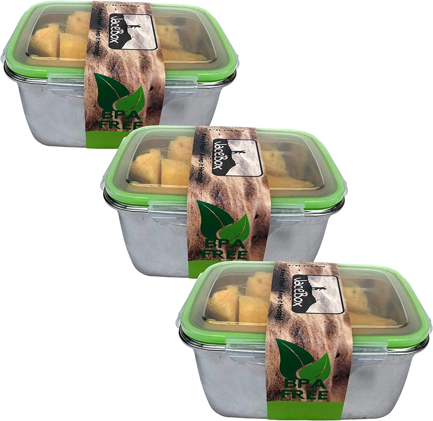 JaceBox XXLARGE Stainless Steel Containers Set of 3 food containers - 2800ml 94oz Food Storage containers BPA FREE Airtight and Leakproof food Boxes. With Snap on Lids BPA FREE
