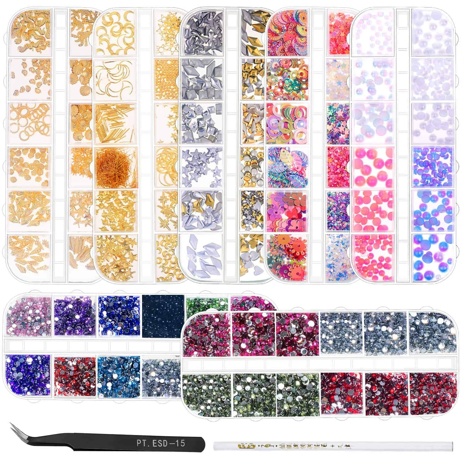 Anezus 7 Boxes Nail Rhinestones Nail Art Supplies Nail Studs 3D Nail Gems Jewels with Pickup Tools for Nails Decoration Makeup Clothes Shoes by anezus