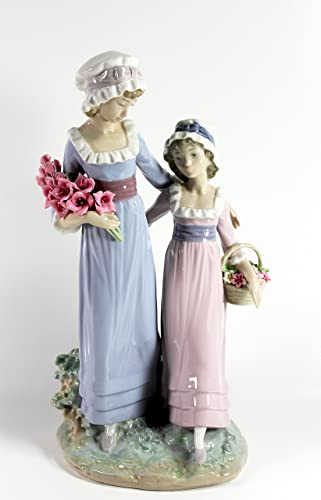 Lladro Sisters with Flowers Collectible Figurine 15013 Retired Glazed Finish