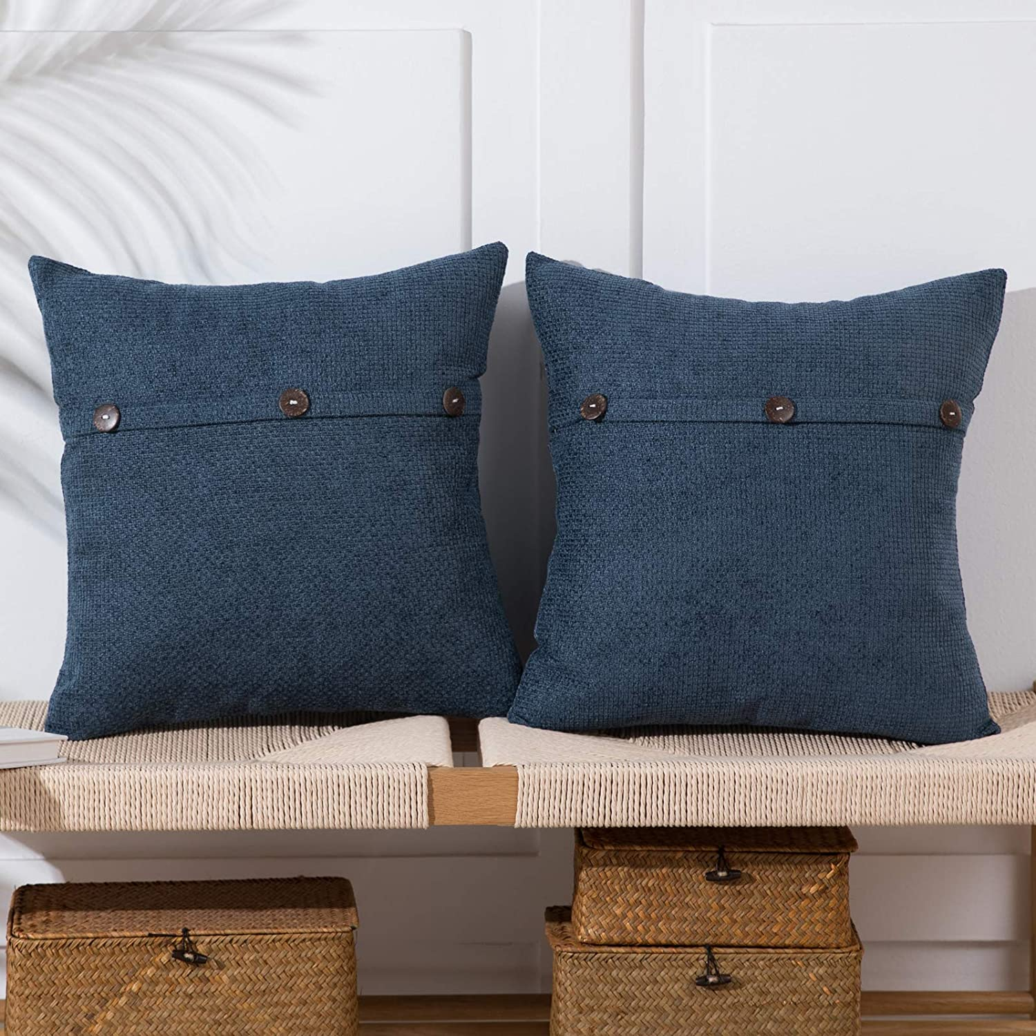 Anickal Gray Blue Pillow Covers 18x18 Inch with Triple Buttons Set of 2 Chenille Rustic Farmhouse Decorative Throw Pillow Covers Square Cushion Case for Home Sofa Couch Decoration
