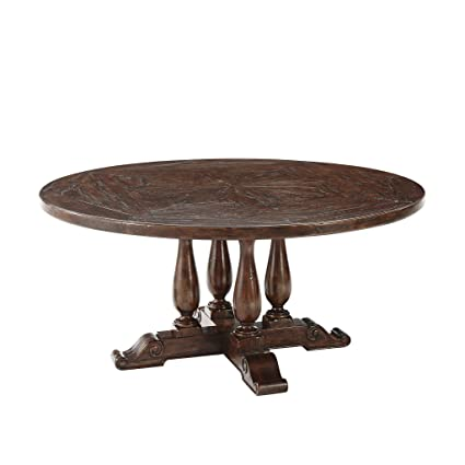 Amazon.com - Antiqued Wood Circular Dining or Kitchen Table ...