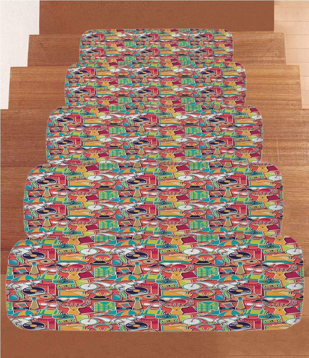 iPrint Non-Slip Carpets Stair Treads,Indie,Colorful Hipster Design Elements Old Fashioned Culture Technology Urban Theme Funky Decorative,Multicolor,(Set of 5) 8.6''x27.5''