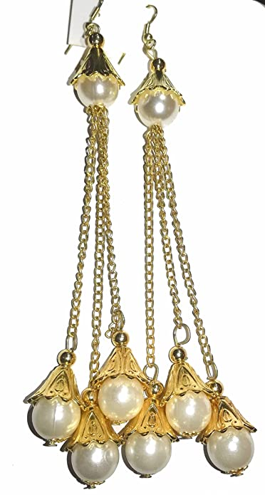 c0bdb6d76681a Buy Drop Pearls Hanging Chain Earrings for Girls by swastik ...