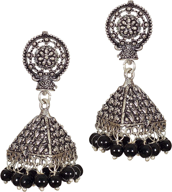 DESI HAWKER Silver Oxidized Earring Bali Jhumki Jhumka Jewelry Bollywood Drop Dangle Chandelier Floral Big Doli NI-29