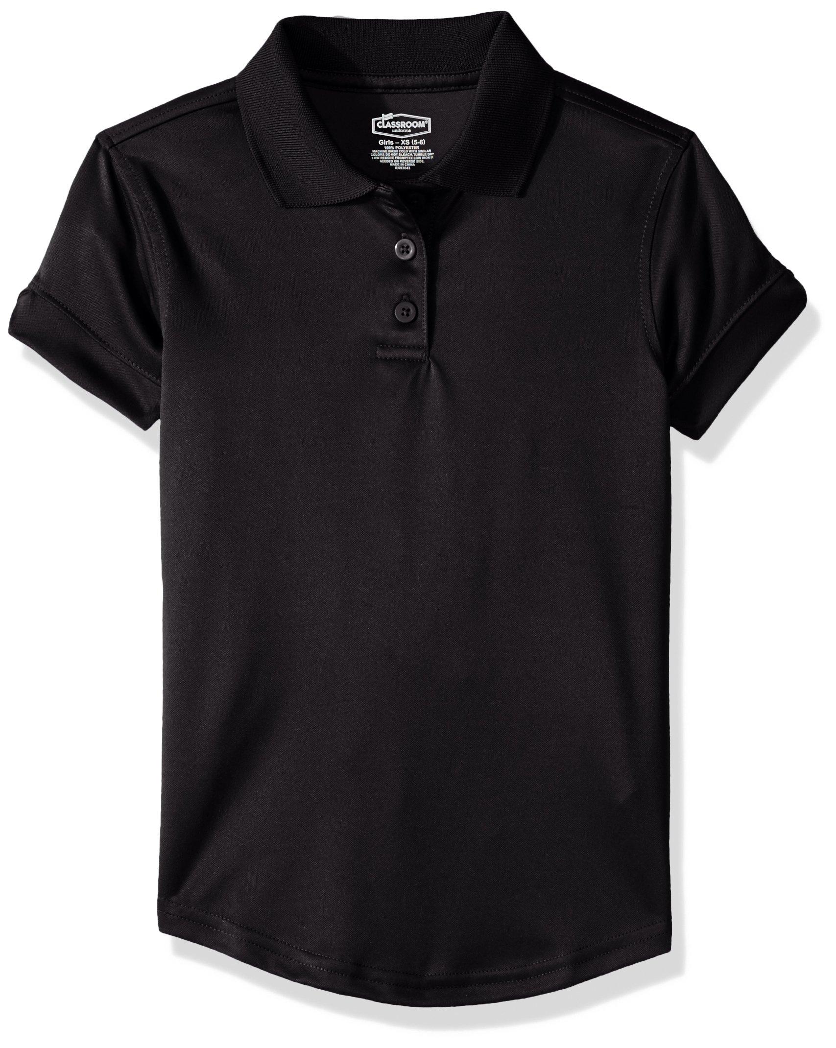 Classroom School Uniforms Big Girls Fit Moisture Wicking Polo, sos Black, XL by Classroom School Uniforms (Image #1)