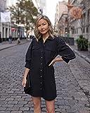 The Drop Women's Black Mid-Length Volume-Sleeve Button Down Mini Shirt Dress by @laurie_ferraro