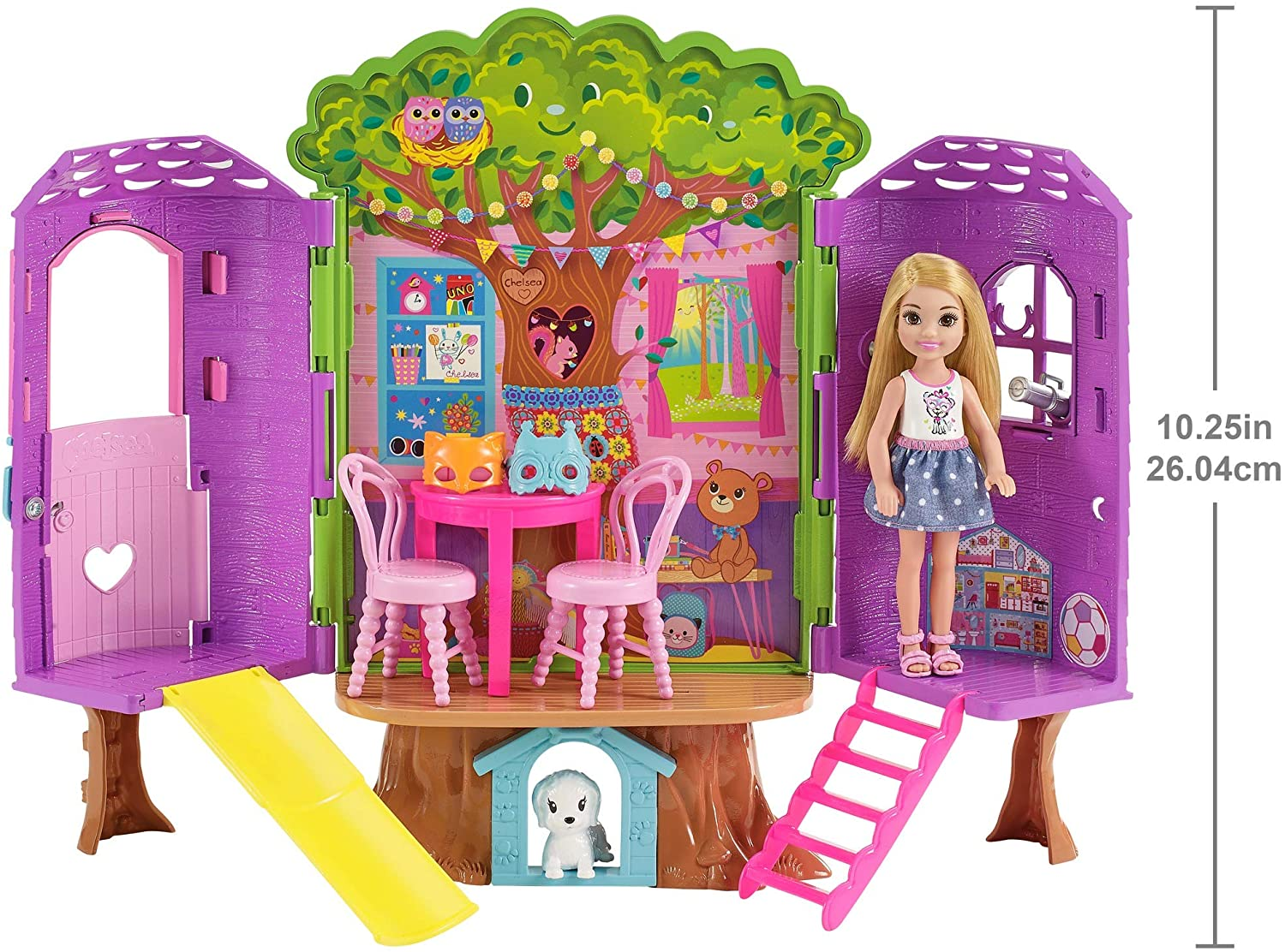 Child Doll Included Barbie fpf83 FAMILY Chelsea Treehouse Playset Portable Bright and Colourful Gift 2 to 5 Years Children Play Set