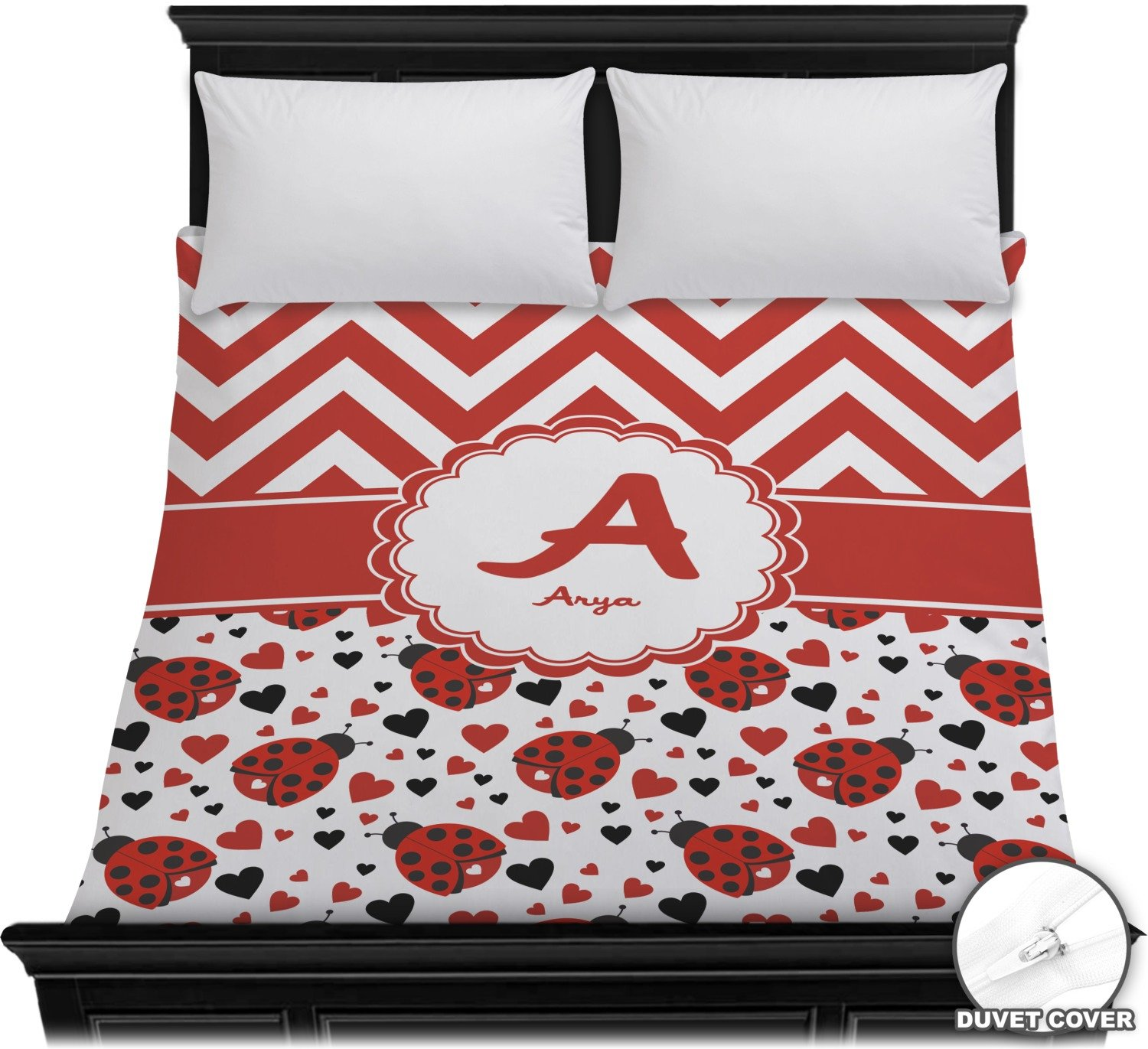 Ladybugs & Chevron Duvet Cover - Full / Queen (Personalized)