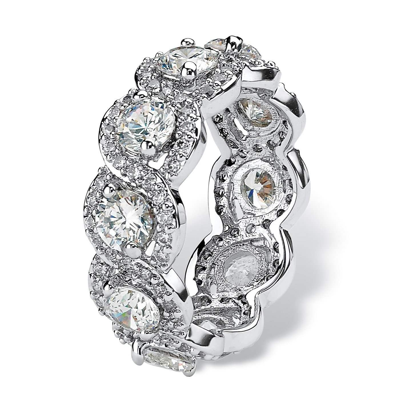 Round White Cubic Zirconia Platinum over .925 Sterling Silver Halo Crossover Eternity Ring by Seta Jewelry (Image #2)