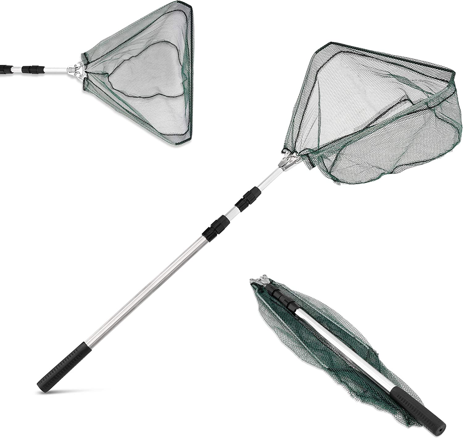 Robust Mechanism /& Easy Store Extends to 67 Inches Durable Metal Rod with Anti-Slip Rubber Grip Telescopic Folding Landing Fishing Net Net Weight 380 Grams