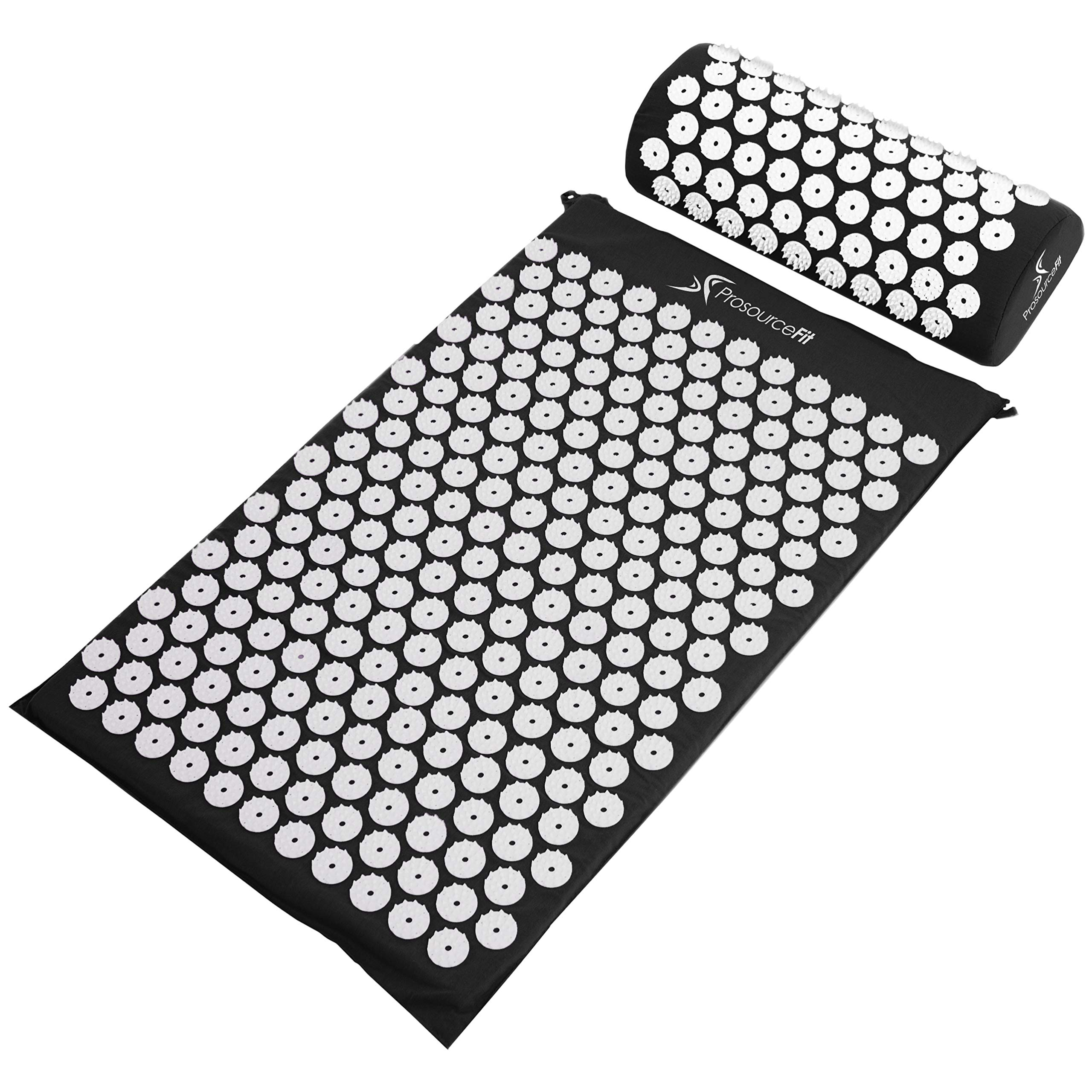 ProSource Acupressure Mat and Pillow Set for Back/Neck Pain Relief and Muscle Relaxation, Black by ProSource