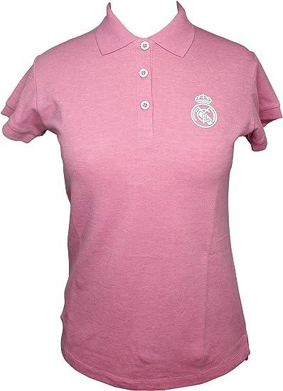 Polo Real Madrid Mujer Rosa/Blanco Talla L: Amazon.es: Ropa y ...