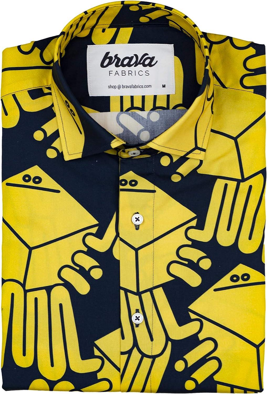 Brava Fabrics - Camisa Amarilla Estampada para Hombre - Camisa Casual de Manga Corta para Hombre - 100% Algodón Orgánico - Modelo Crab Party de Diaz-Faes - Talla 3XL: Amazon.es: Ropa y accesorios