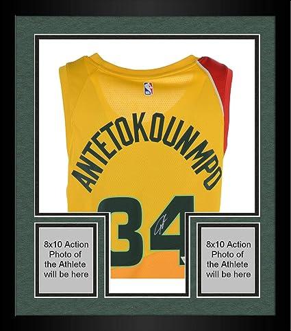 472301ab294be Framed Giannis Antetokounmpo Milwaukee Bucks Autographed Yellow Nike ...