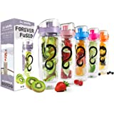 Live Infinitely 32 oz. Infuser Water Bottles - Featuring a Full Length Infusion Rod, Flip Top Lid, Dual Hand Grips & Recipe E