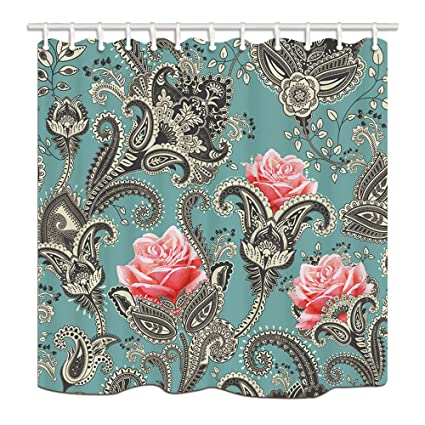 NYMB Paisley Shower Curtains For Bathroom Abstract Art Pink Flowers In Indian Floral Polyester