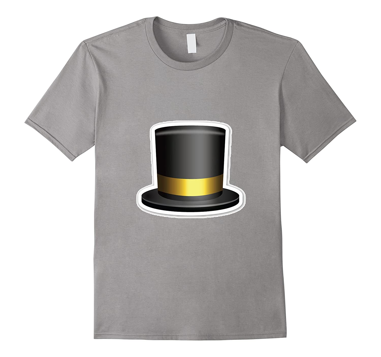 Top Hat Emoji T-Shirt Fancy Suit Tall Black Costume Party