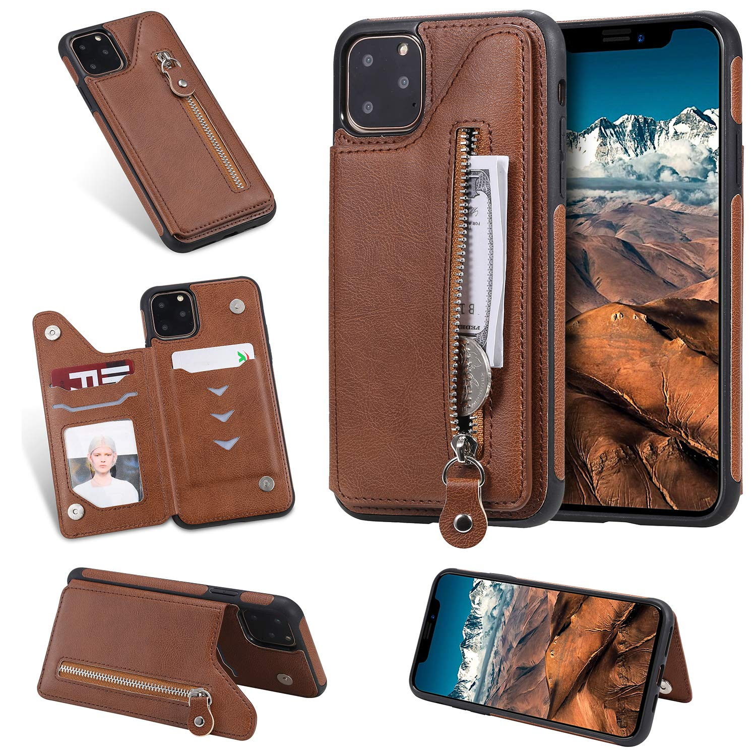 Tznzxm iPhone 2019 (XI Max) 6.5'' Case, Luxury Zipper PU Leather Kickstand Card Slots Double Magnetic Clasp Durable Shockproof TPU Back Wallet Flip Cover for iPhone XI Max/iPhone 11 Pro Max Brown by Tznzxm