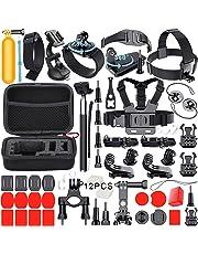 Leknes Accessories for GoPro Hero 6 Hero5 Gopro 4 3 2 1 GoPro Hero Session, Action Camera Mounts for SJ4000 SJ5000 SJ6000 AKASO EK7000 Apeman A70 APEMAN A80 Xiaomi Yi  WiMiUS Sony Sports DV, 54-in-1 Gopro Hero Accessory Kit with Case